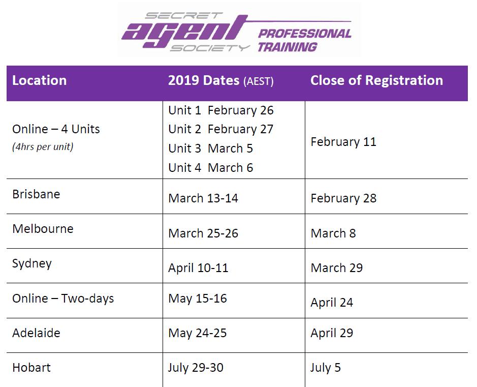 2019 Sem 1 Training Dates