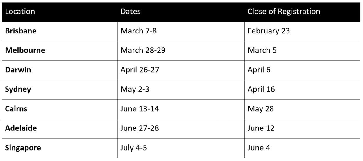 SAS Facilitator Training Course Schedule Semester 2 2017